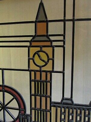 Newly crafted Traditional STAINED GLASS WINDOW PANEL London Skyline 538mmx398mm