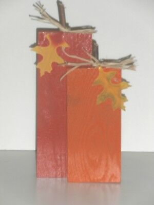 Pumpkin Duo Wood Crafted Fall Standing Decoration with leaves 11 inch  - Pumpkin With Leaves