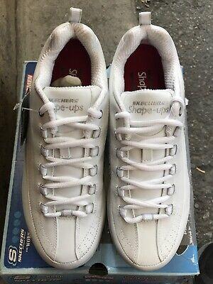 Skechers Women's Work Shape Ups Shoes White Leather Slip Resistant Size 9.5