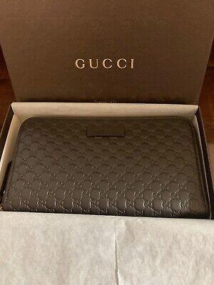Gucci Women's 449391 Dark Brown Leather Micro GG Guccissima Zip Around Wallet