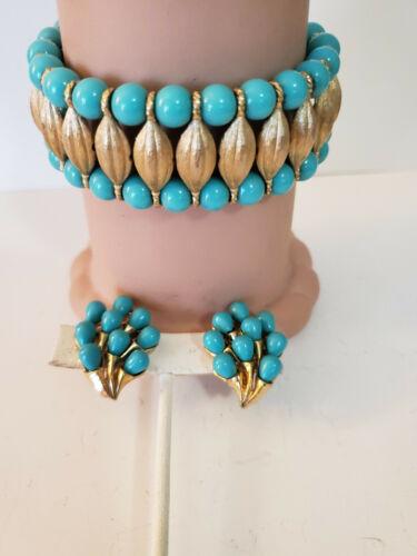 Vintage Crown Trifari Turquoise Bracelet Earrings