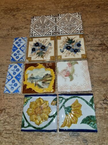 COLLECTION OF 10 ANTIQUE WALL TILES / DELFT TILES/ FLOWER TILES
