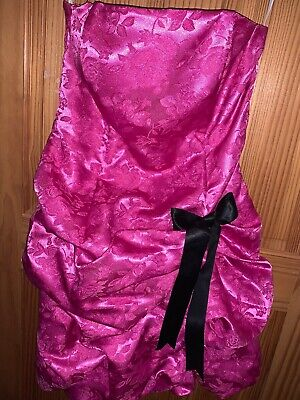 Jessica McClintock For Gunne Sax Pink Ruffle Dress Size 11 USA Embossed Floral