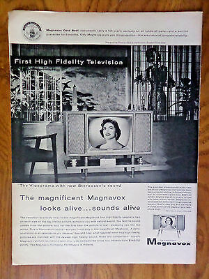 1956 Magnavox TV Television Ad 1st High Fidelity Marguerite Piazza Opera Star
