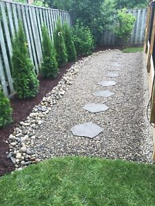 A Couple Landscapers: Patio Stones, River Rock, And Sod.
