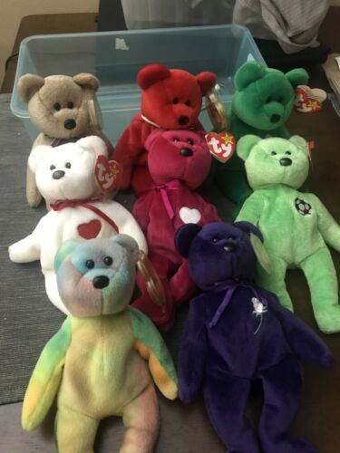 Rare Garcia Ty Beanie Babies Bears Lot Of 8 With Tags - $10.00