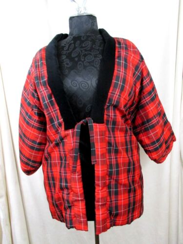"Jacket Oriental Asian Women Plaid Bust 50"" Plus Lined 3/4 Sleeves Warm #E2"