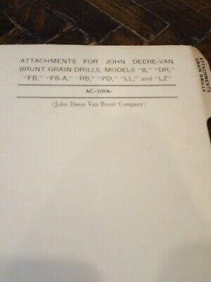 John Deere Grain Drill Attachments Parts Catalog Manual Book Original Van Brunt
