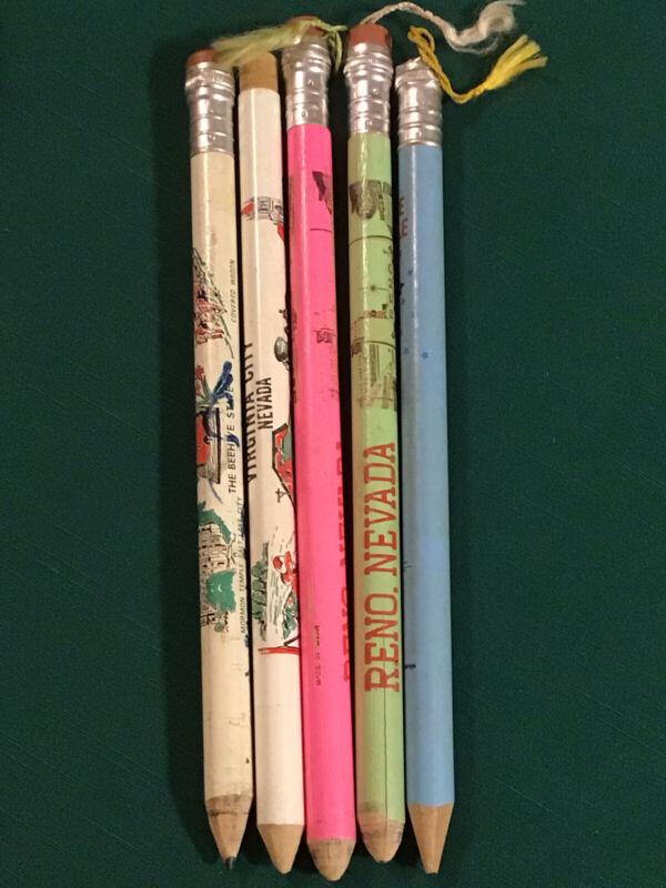 Giant 1970s Souvenir Pencils Reno Seattle Virginia City Utah Made In Japan