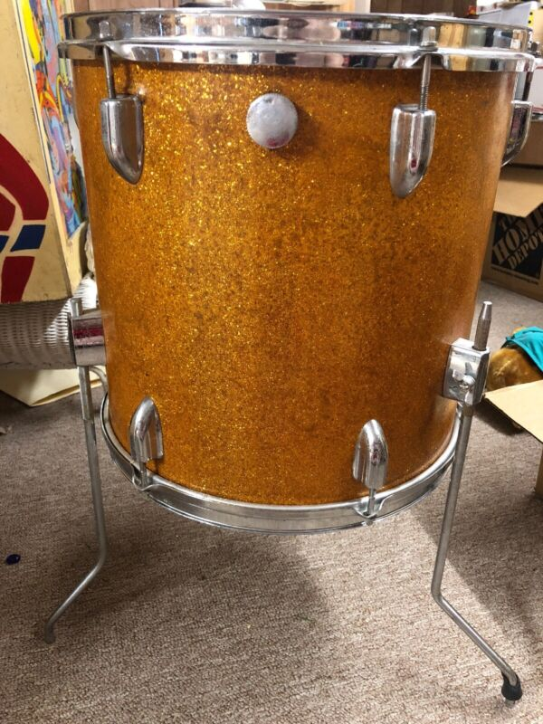 14x14 Floor Tom gold sparkle Wrap Vintage Japan Made  60's 70's