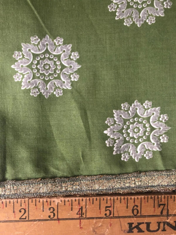 "Antique Victorian Table Runner Green With Grey 84""l X 34""w  Hand Made Lace Edged"