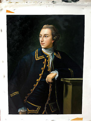 Ölbilder Ölgemälde Gemälde Portrait of a Man in a Blue Suit. 53x70cm