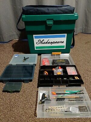 Shakespeare Team Fishing Angling Seatbox Tackle Boxes+various end tackle(coarse)