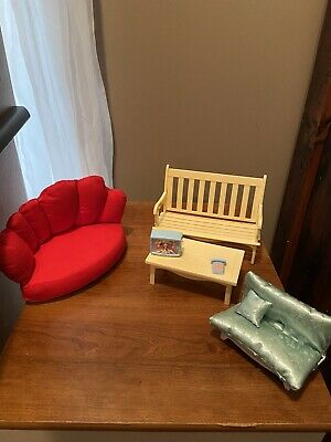 barbie living room furniture couches table television phone bench