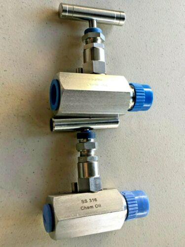 2 Chem Oil Needle Valve SPV8M8FV 6000 psi  SS316, 200° F Free Expedited Shipping