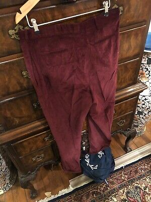 E.TAUTZ LONDON SAVILE ROW MEN CORDUROY WINE 38 X 31 NWT W/ CUFFS STUNNING COLOUR
