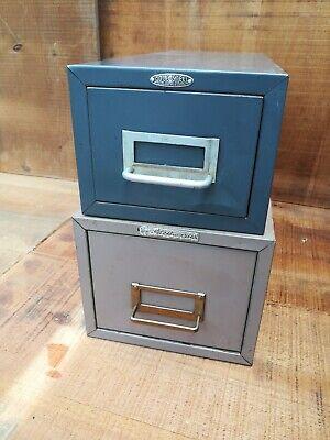 2 Vintage Index Card Metal File Cabinet Storage