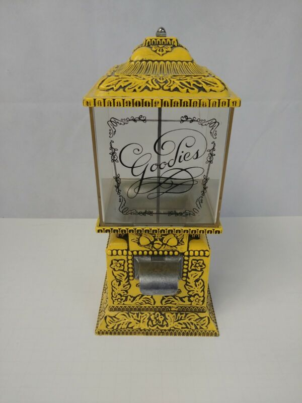 Vintage Goodies Yellow Gumball Candy Machine Dispenser with Cupids & Hearts