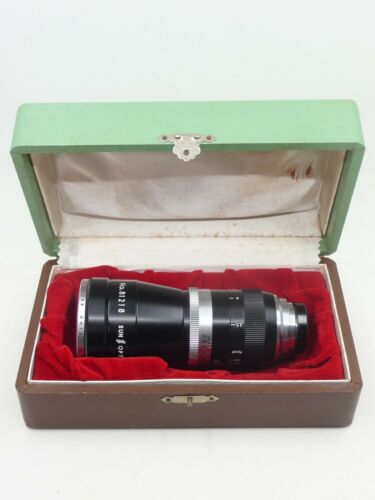 "Sun Opt. 75mm 3"" cine C-mount lens, rear cap, UV filter, case"