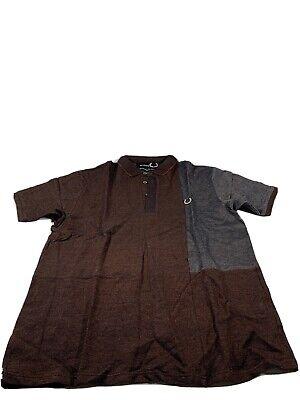 Raf Simons X Fred Perry Mens Polo Shirt Bronze Orange Grey Short Sleeve Sz M