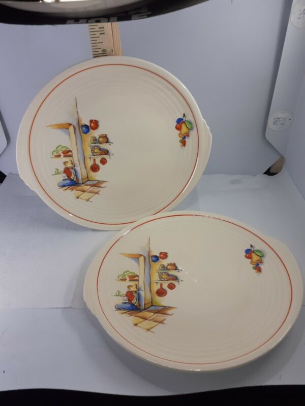 2 Vtg Edwin Knowles Semi Vitreous China Plate Sleeping Mexican Pottery