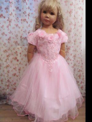 Rosa Königin Kostüme (Prinzessinenkleid 128 Kostüm Prinzessin Kleid Fee Königin Schloß rosa Perlen Neu)
