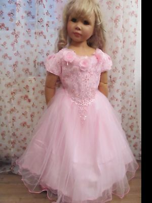 Kleid Prinzessin Königin Fee Kostüm Cinderella rosa Tüll Spitze Tüll 122 Neu ()