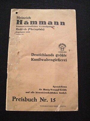 alter Katalog Imkerei H.Hammann Preisbuch Nr.15 1931/32 Kunstwabengießerei