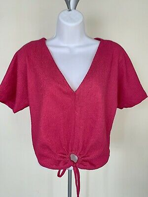 NWT ZARA Woman TEXTURE T-SHIRT WITH KNOT Pink size S #C122 6761 155 630