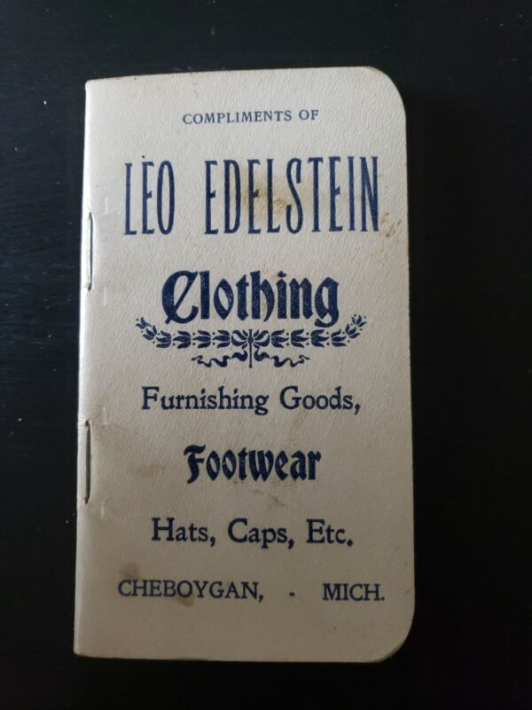 Vintage Rare Leo Edelstein Clothing Notebook Cheboygan MI Michigan