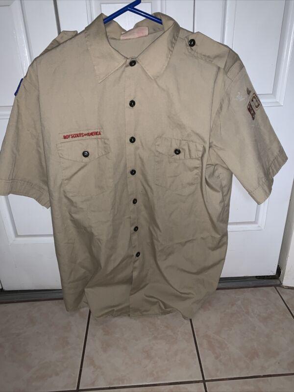 Boy Scout BSA UNIFORM SHIRT  Men's  Extra Large XL Short Sleeve Tan L62