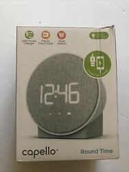 Capello Round Time Table Digital Clock with USB Phone Charger - Gray - OPEN BOX