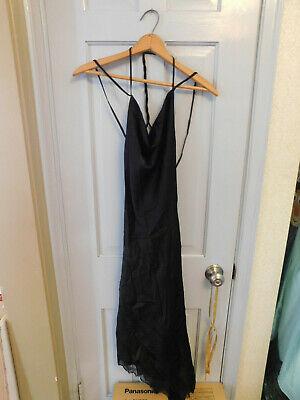 BCBG New Dress Sz 0 Black Double Spaghetti Strap Cowl Crepe Satin -