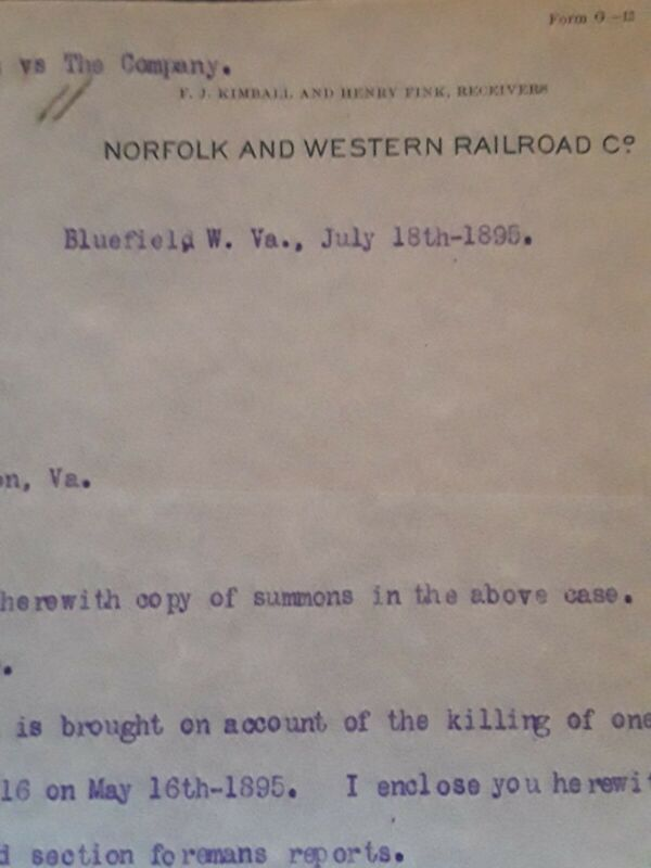 Engine 149 Norfolk & Western Railroad 1895 3 Papers Hog Damages Bluefield WV