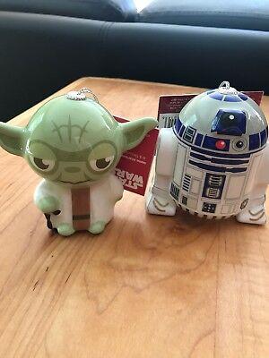 Hallmark Disney STAR WARS Christmas Decoupage Unbreakable Ornaments Yoda R2D2