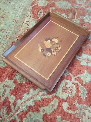 Antique solid wood Marquetry Inlaid serving tray