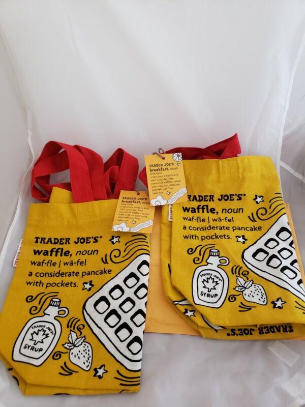 Trader Joes Reusable Shopping Bag Breakfast Waffle Toast Milk Heavy Cotton☆2 Bag