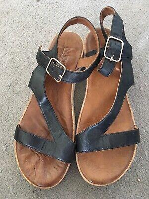 Inuove Black Leather Strap Sandals Shoes, Size 5 EU 38, Excellent Condition