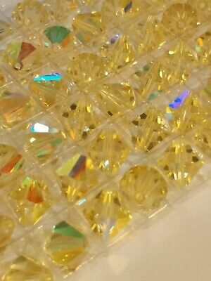 VINTAGE 1970's Swarovski 10mm Bicone Beads Jonquil AB Article #5301 Corna Cut!!!