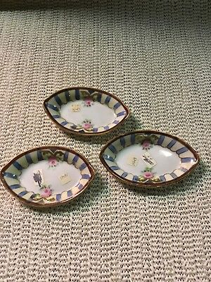 "Set of 3 Vintage Noritake HandPainted 3.5"" x 2.25"" Porcelain Spice & Salt Dishes Noritake Spice"