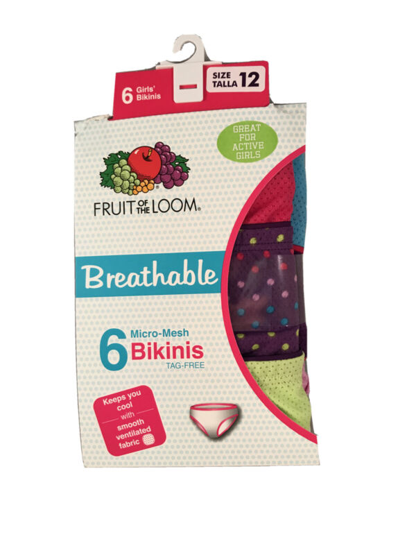 Fruit Of The Loom Breathable Micro-Mesh Girls Bikini Underwear Size 12 (6 Pairs)
