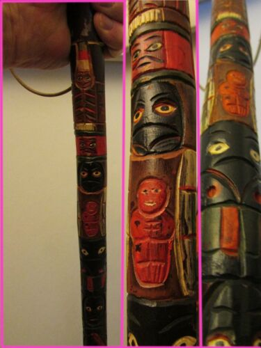 Old Northwest Coast Totem Pole Walking Stick
