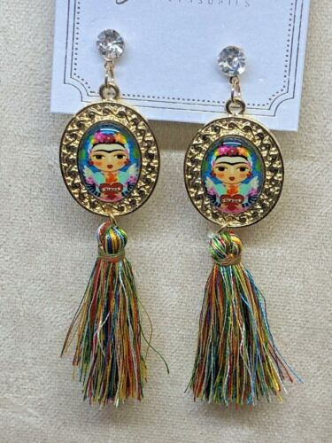 Frida Kahlo With Tassel Multi-Color Fashion Earrings