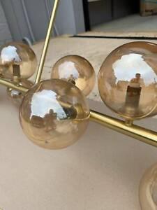 Orion 14 Light Pendant in Brass/Amber