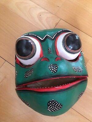 Maske Frosch Bali Holz grün schwarz rot weiß handbemalt Unterkiefer beweglich