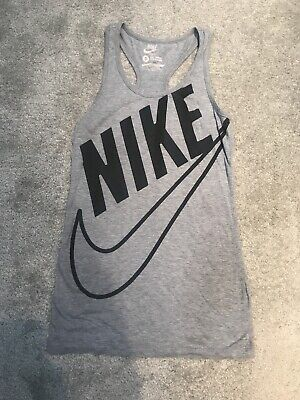 Nike Grey Racer Back Vest Size Small 8 - 10 Gym Running Top