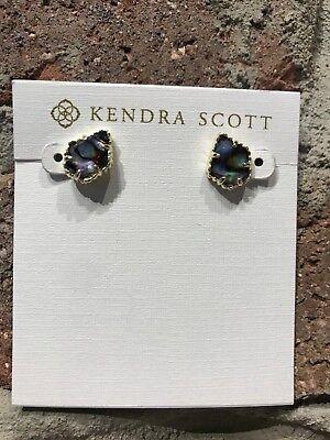 NWT Kendra Scott Tessa Small Stud Earrings in Abalone Shell/Gold