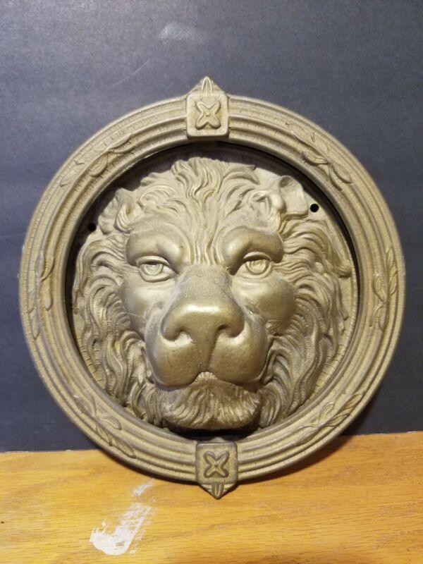"Door Knocker Lion Head  9"" Vintage Heavy Solid Brass Detailed Decorative"