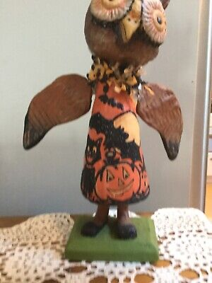 "Halloween Bethany Lowe Hoot Hoot Owl 11"" Retied Papier Mache Debra Schoch"