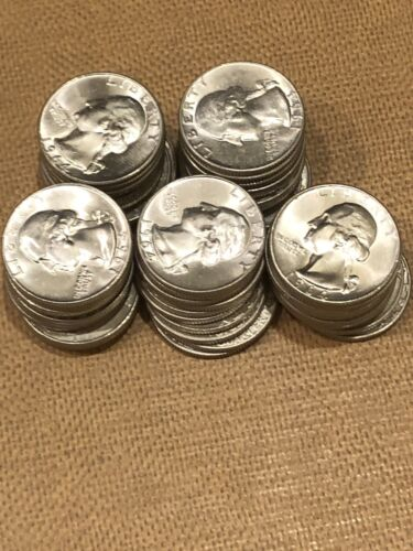 Lot Of 50 Washington Silver Quarters High Grade Coins Dated 1964 Earlier - $340.00